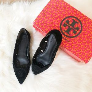 Tory Burch eyelet black flats